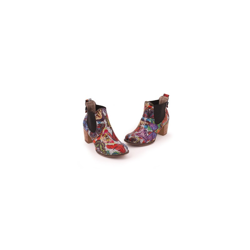 902a20bf4460 Viacfarebné dámske kožené topánky na podpätku - fashionday.eu