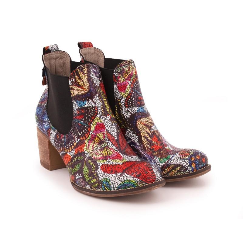 5f08ac5eab6e Predchádzajúci. Viacfarebné dámske kožené topánky na podpätku ...