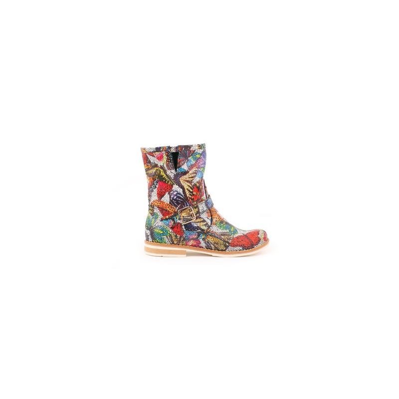 cea3f2638361 Predchádzajúci. Farebné kožené členkové topánky s nízkym podpätkom ...