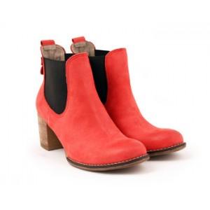 Dámske kožené kotníkové topánky červenej farby