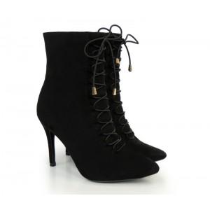 Zimná dámska šnúrovacia obuv na podpätku