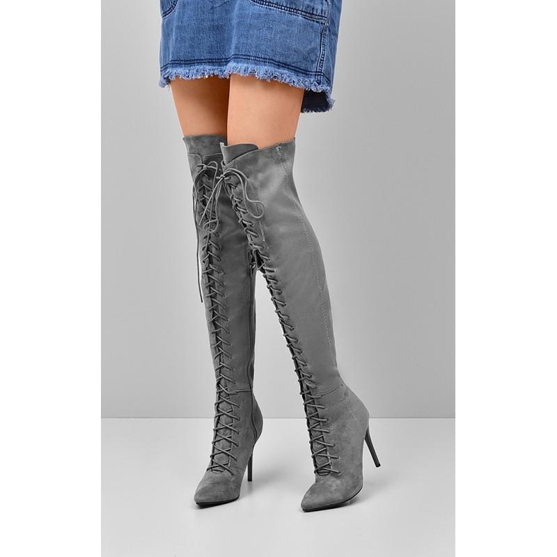 4d6cec5f3356 Vysoké dámske zimné čižmy šnúrovacie na podpätku - fashionday.eu
