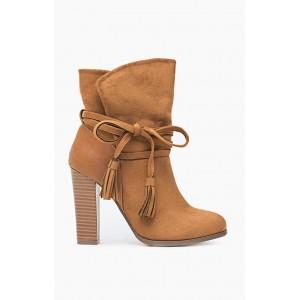 Jesenné kotníkové dámske topánky na vysokom podpätku
