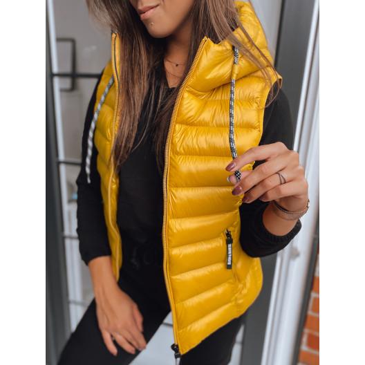 Originálna dámska žltá prechodná vesta s kapucňou