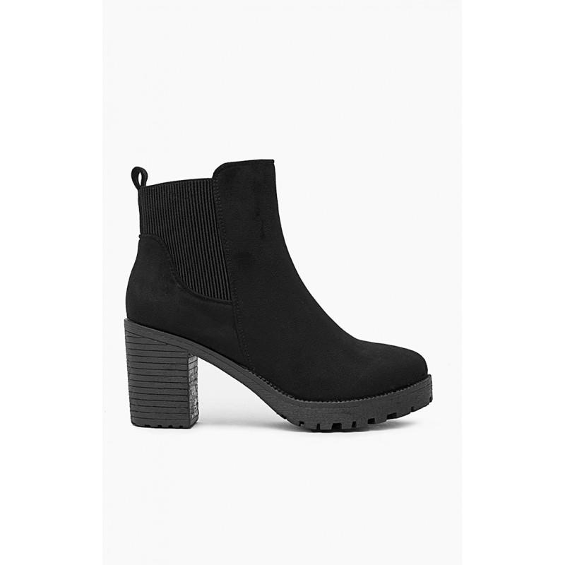 5b407e47e86c Semišové členkové čižmy na podpätku v čiernej farbe - fashionday.eu