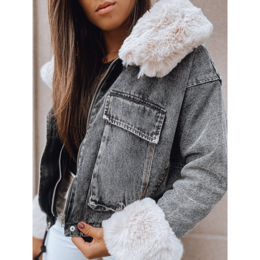 Originálna čierna rifľová bunda na zimu s bohatou kožušinou a kapucňou