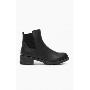 Elegantné členkové topánky na nízkom podpätku čierne