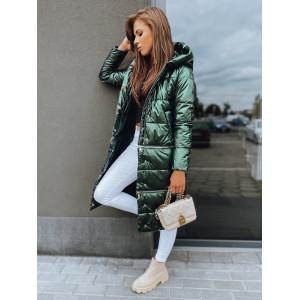 Dlhá dámska zelená bunda na zimu v módnom designe
