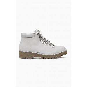 Dámske sivé worker topánky s nízkym podpätkom
