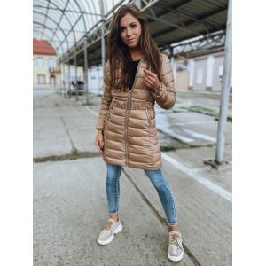 Geniálna dámska béžová bunda na zimu s kapucňou
