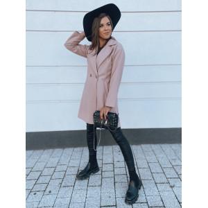 Nadčasový dámsky ružový jarný kabát áčkového strihu