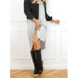Moderné dámske čierne kožené čižmy módnej hrubej podrážke