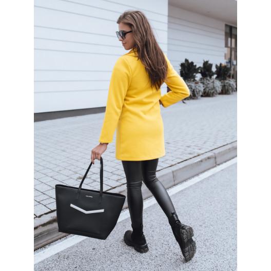 Výrazný dámsky žltý jarný kabát sakového strihu