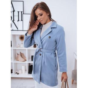 Krásny dámsky modrý jarný kabát s dvojradovým zapínaním