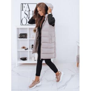 Béžová dámska prešívaná bunda na zimu s kapucňou