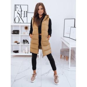 Karamelová dámska prešívaná zimná bunda bez rukávov