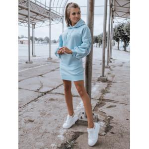 Nebesko modré dámske mikinvé šaty s kapucňou a nariasenými rukávmi