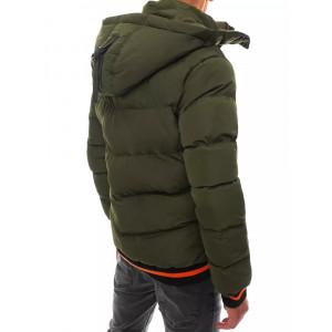 Originálna zelená pánska zimná bunda s kapucňou