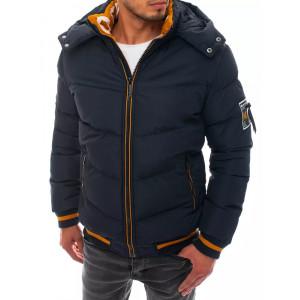 Štýlová pánska krátka tmavo modrá bunda na zimu s kotrastnou žltou farbou