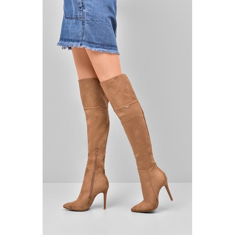 9f114cd917aa5 Dámske vysoké čižmy nad kolená v hnedej farbe - fashionday.eu