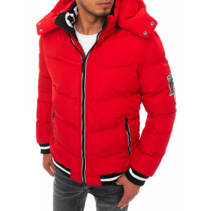 Pohodlná pánska červená zimná bunda s kapucňou