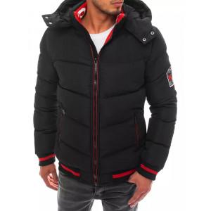 Moderná pánska čierno červená pánska bunda s kapucňou