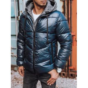 Moderná pánska modrá lesklá bunda na zimu s teplákovinou