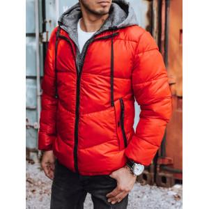 Športová pánska červená bunda na zimu s teplákovinou
