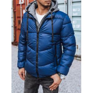 Trendy pánska modrá prešívaná bunda s kapucňou