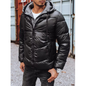 Športová pánska čierna prešívaná bunda s teplákovou kapucňou