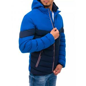 Športová pánska modrá prešívaná bunda na zimu s kapucňou