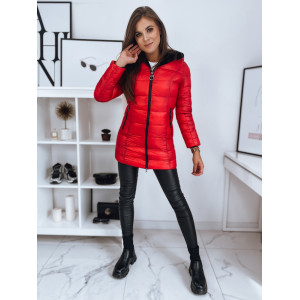 Módna dámska červená obojstranná bunda s kožušinou a kapucňou