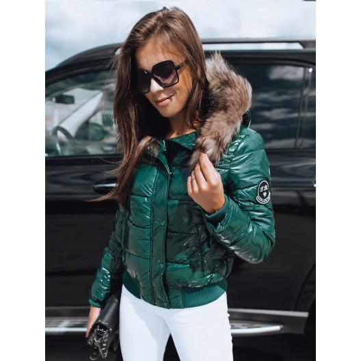 Luxusná dámska krátka zelená lesklá bunda do pása s kožušinou
