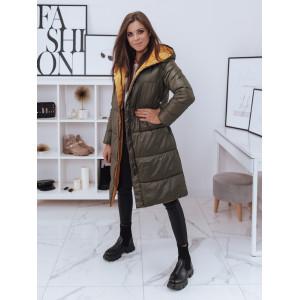Kvalitná obojstranná zeleno žltá dámska dlhá bunda  s kapucňou