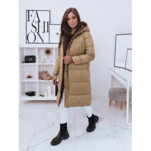 Obojstranná dámska dlhá hnedá prešívaná bunda s kapucňou