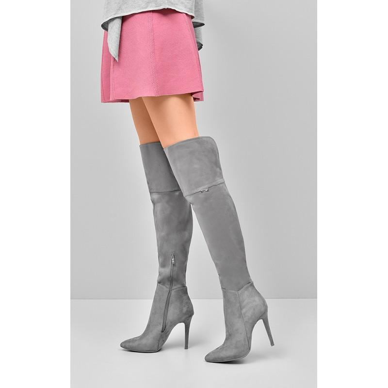 6500295210 Predchádzajúci. Čižmy nad kolená s vysokým podpätkom sivej farby ...