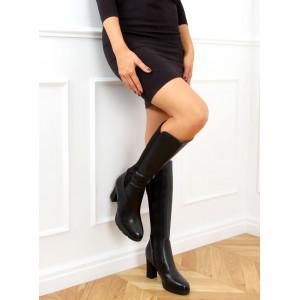 Pohodlné dámske vysoké čierne kožené čižmy s gumou