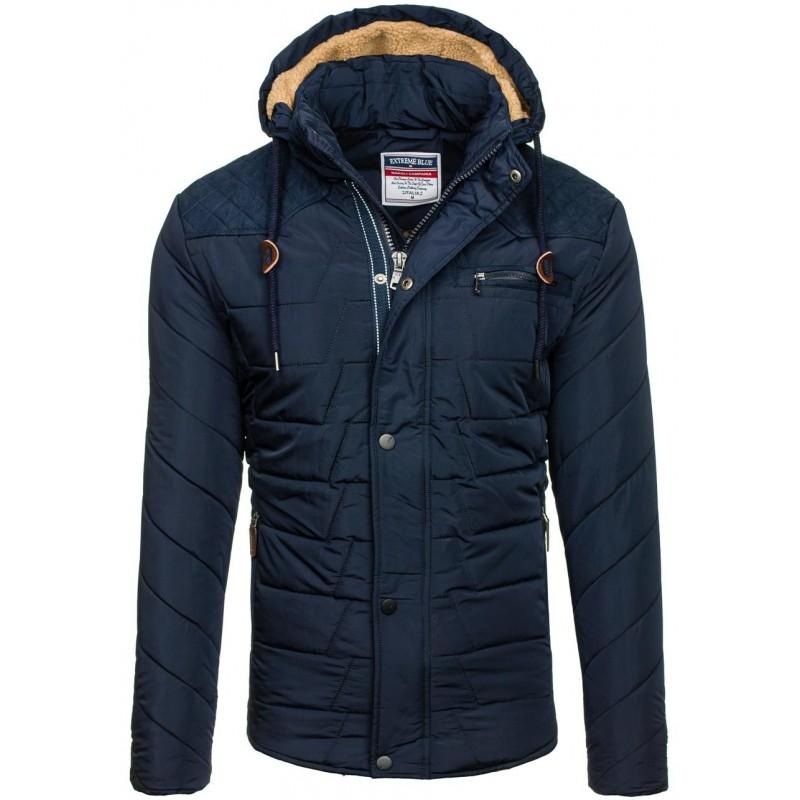 Krátke pánske bundy na zimu v tmavomodrej farbe - fashionday.eu 316a2e0f4a5