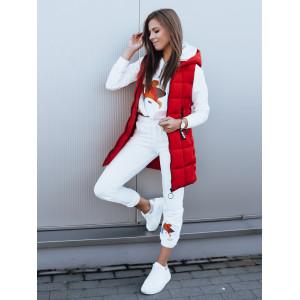 Moderná výrazne červená dámska prešívaná bunda s kapucňou