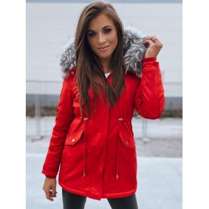 Ůžasná dámska červená zimná bunda parka s bohatou kožušinou