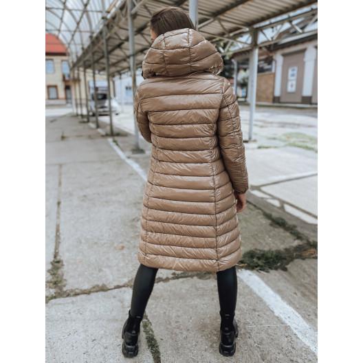 štýlová dámska dlhá béžová bunda s kapucňou