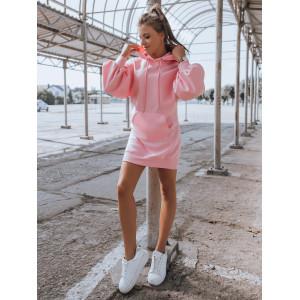 Krásne ružové mikinové šaty s bohato nariasenými rukávmi a kapucňou