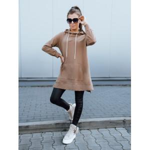 Kvalitná dámska dlhá camel mikina s kapucňou a ropzparkami