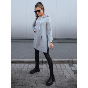 Bavlnená dámska sivá dlhá mikina s kapucňou