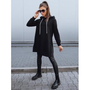 Trendy dámska čierna jednofarebná dlhá mikina s kapucňou