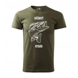 MILITAR VEĽKOSŤ M Pánske zelené tričko pre vášnivých rybárov