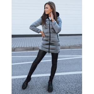 Originálna dámska obojstranná sivá bunda kožúšok s kapucňou