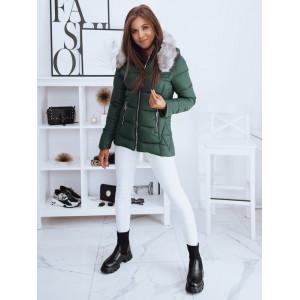 Krásna dámska zateplená zelená bunda na zimu kapucňou