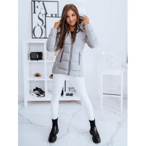 Moderná dámska svetlo sivá krátka prešívaná bunda na zimu s kožušinou