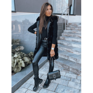 Moderná dámska čierna kožušinová vesta s kapucňou